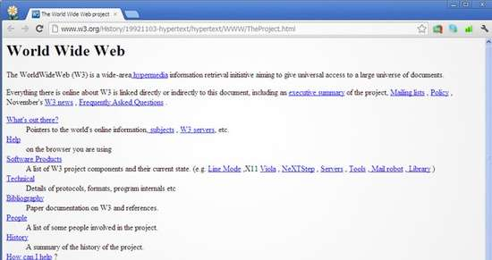 Historia de Internet. La primera web