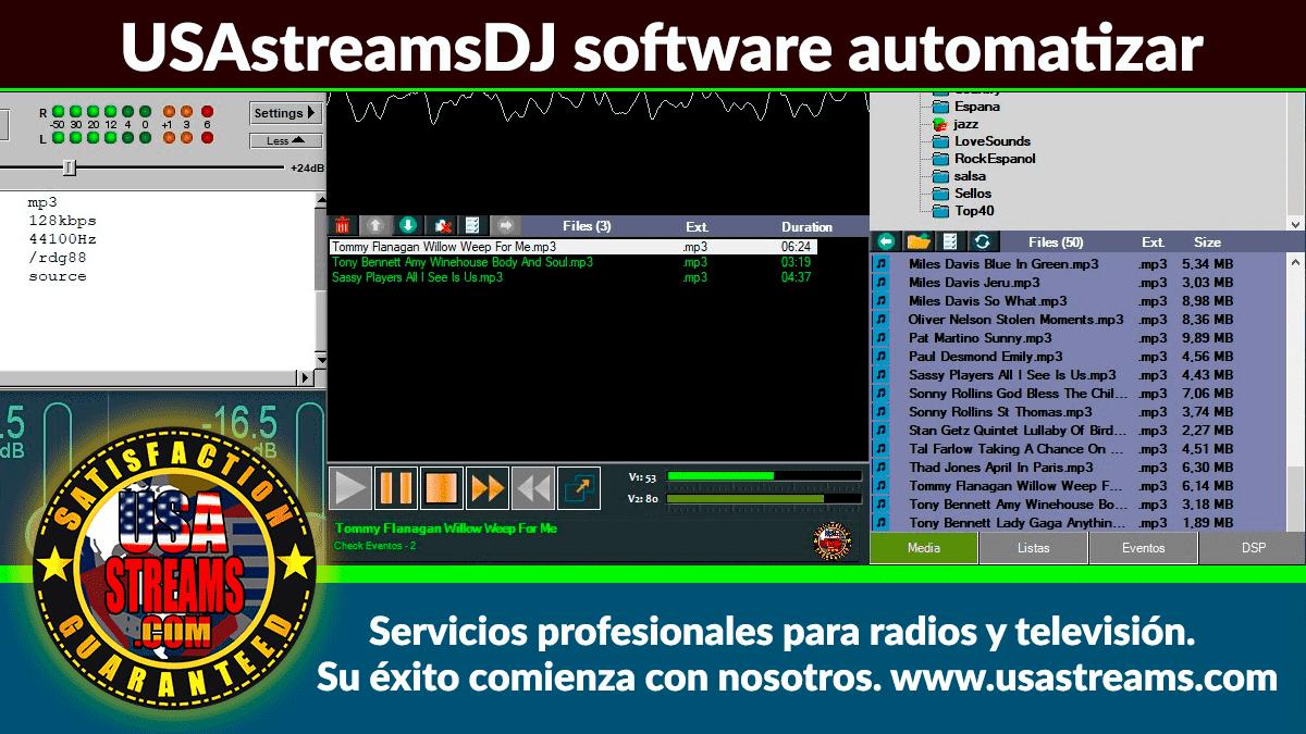 USAstreamsDJ software automatizar emisoras de radio, eventos, listas, sellos